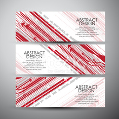 Vector banners set with abstract hi-tech background.