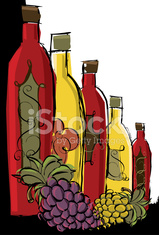 Wine bottles with grapes