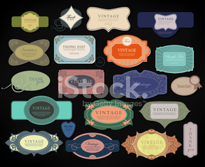 set retro vintage ribbons and label