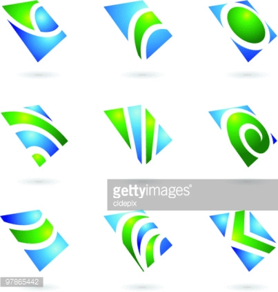 abstract glossy shapes and graphic design elements