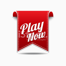 Play Now Red Vector Icon Design