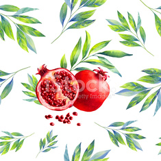 Watercolor seamless leaf and pomegranate pattern