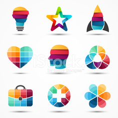 Logo templates set. Modern vector abstract circle creative sign or