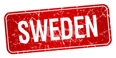 Sweden red stamp isolated on white background
