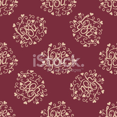 Valentine seamless hearts and Love you pattern