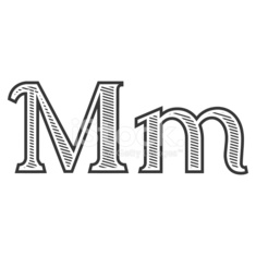 Font Tattoo Engraving Letter M With Shading Stock Photos