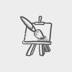 Chart and a paint brush sketch icon