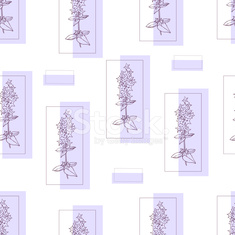 Floral seamless pattern with violet hand drawn flowers