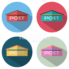 mail box icon flat design with long shadow