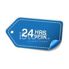 24 Hours Open Blue Vector Icon Design