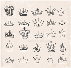 Sketch crowns collection. Hand-drawn with ink.