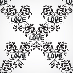 Vector damask seamless pattern background with love word.