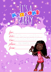 Invitation to a children's karaoke party in violet colors