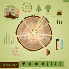 Wooden log with design elements