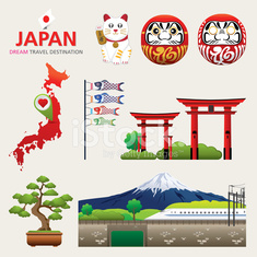 Japan Icons Design Travel Destination Concept, Japan icons
