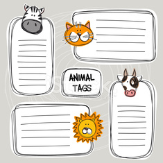 Vector set of funny doodle tags with animals, sketch style.