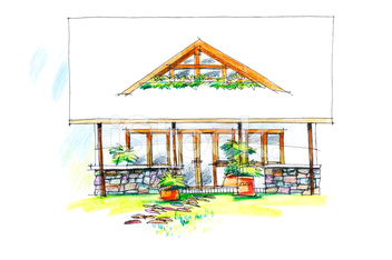 freehand colorful picture of a summerhouse front