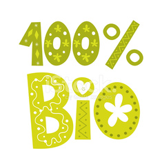 one hundred percent bio vector lettering type design
