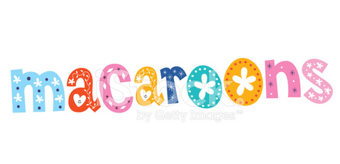 macaroons word decorative lettering type text