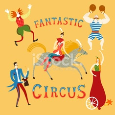 Circus artists cartoon set
