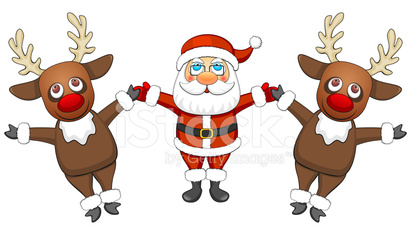 Two reindeers and Santa Claus