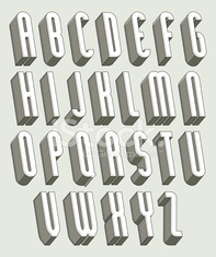 3d font, thin and tall dimensional letters set