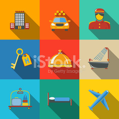 Hotel and service modern flat icons set on color squares