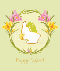 Easter greeting card with wreath of crocuses