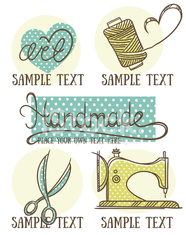 design, craft and handmade logo, symbol and emblems in doodle style