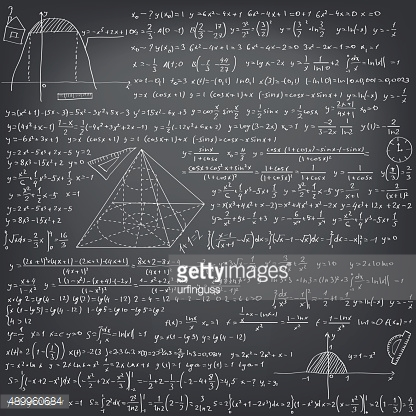 Mathematical formulas on a black school board