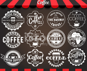 White set of round vintage retro coffee labels and badges