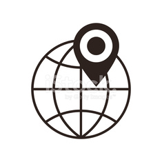 Globe and map pin icon