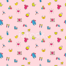 Vector colorful baby and pregnancy seamless pattern in cartoon style