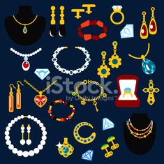 Jewelry and gems flat icons