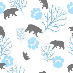 Forest bear and tree branch seamless pattern. Vector background