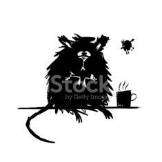 Funny rodent black silhouette. Sketch for your design