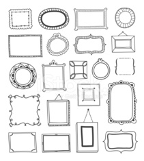 Hand drawn vintage frames made in vector outline