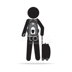 Man with Luggage and backpack illustration
