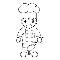 Cook Coloring Page For Kids Stock Photos Vectorhqcom