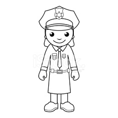 Police Officer Coloring Page For Kids Stock Photos Vectorhqcom