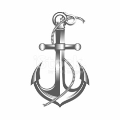 Anchor black and white vector illustration