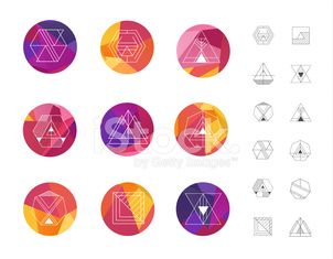 Set of colored geometric crystal circles in polygon style with