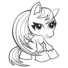 Adorable pony - coloring page for kids