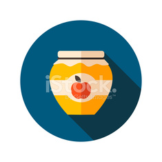 Apple jam jar flat icon with long shadow