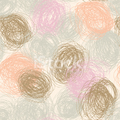 Hand Drawn circled scribbles Background. Seamless abstract.