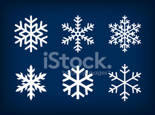 white snowflakes on dark blue background
