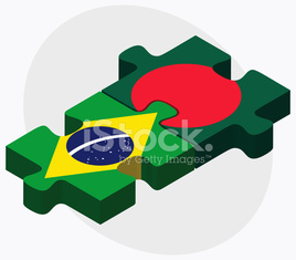 Brazil and Bangladesh Flags