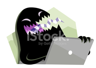 black evil monster using a computer