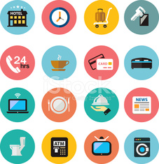 flat icons vector Hotel Icons set