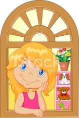 Cartoon little girl smiling and watching out the window
